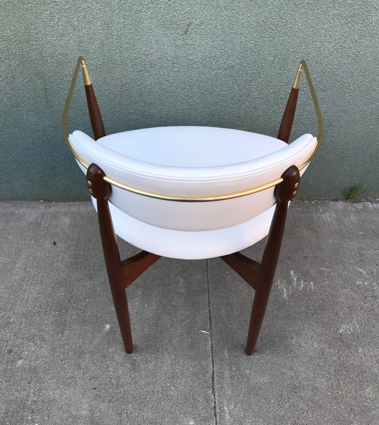 Dan Johnson Armchair in White Leather for Selig 3