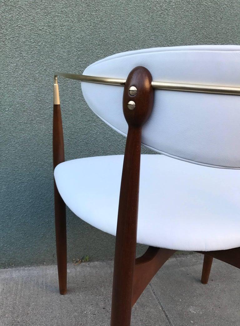 Dan Johnson Armchair in White Leather for Selig 4