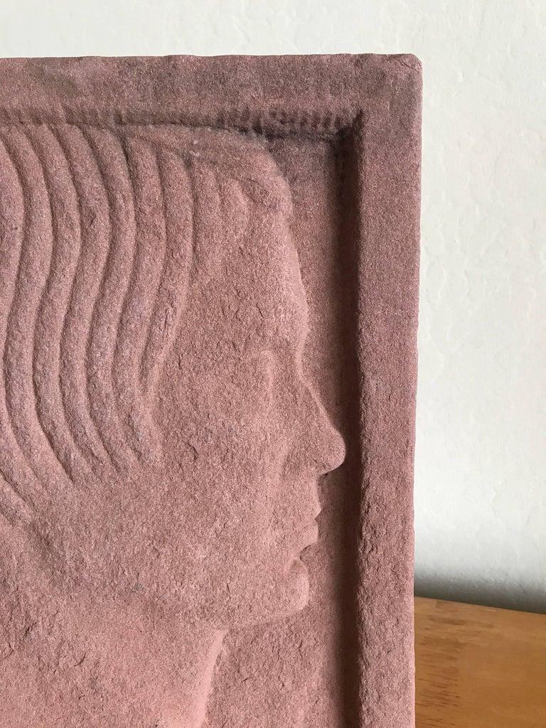 Ruth Cravath Carved Sand Stone Sculpture, Portrait, 1930s, Bay Area Artist 3