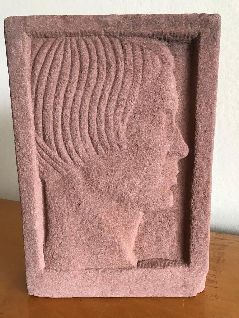 Ruth Cravath Carved Sand Stone Sculpture, Portrait, 1930s, Bay Area Artist 4