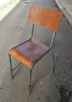 1950s French Modernist  Industrial Side Chair