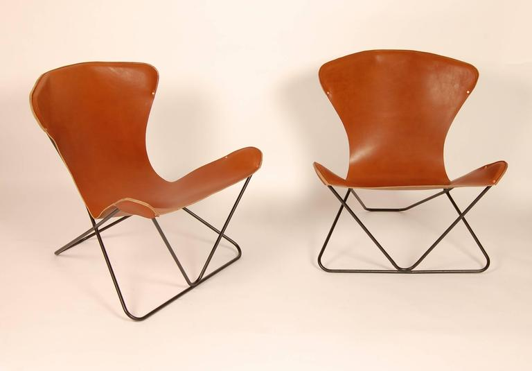 "Iron and Leather Sling Chairs California Design ""The Bolinas Lounge"" 2"