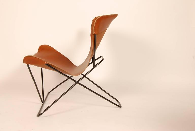 "Iron and Leather Sling Chairs California Design ""The Bolinas Lounge"" 4"