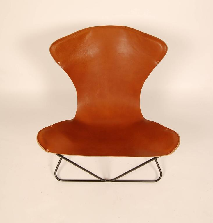"Iron and Leather Sling Chairs California Design ""The Bolinas Lounge"" 5"