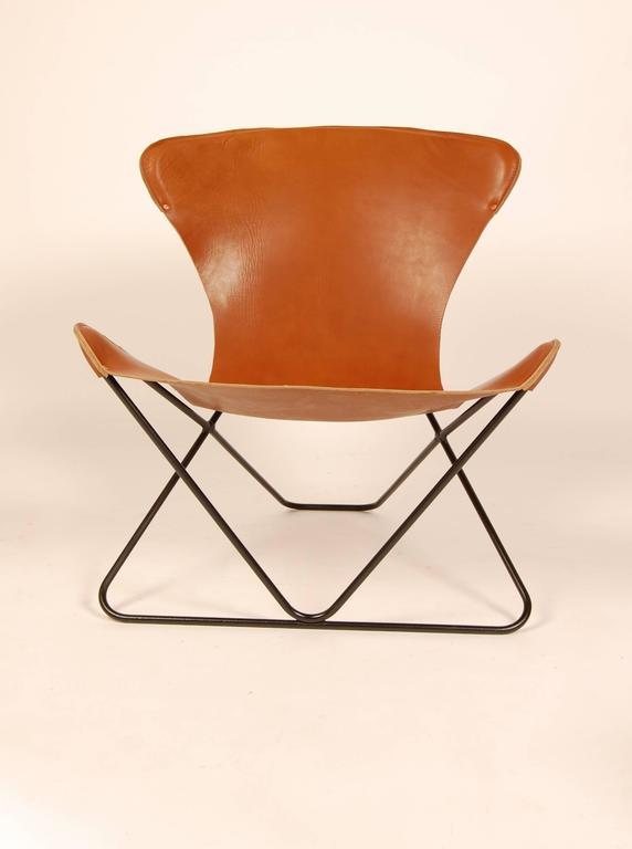 "Iron and Leather Sling Chairs California Design ""The Bolinas Lounge"" 8"