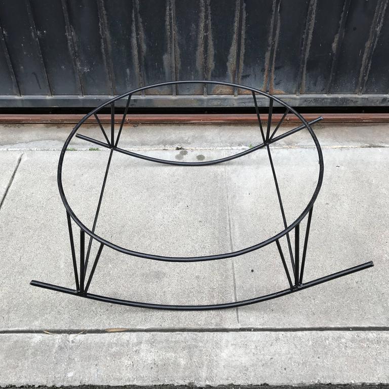 Large Rattan Basket and Iron Modernist Rocking Lounge 2