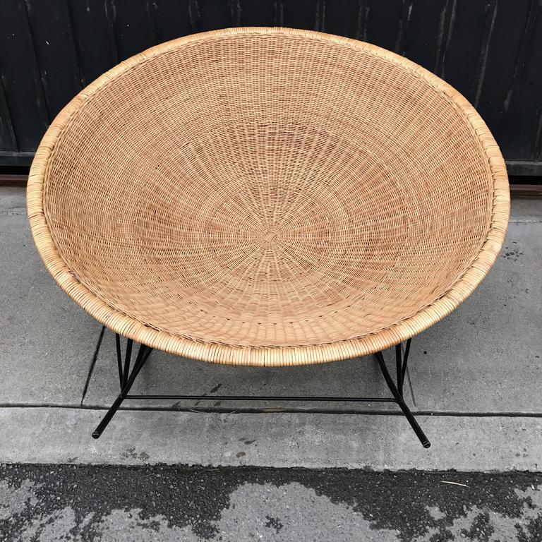 Large Rattan Basket and Iron Modernist Rocking Lounge 8