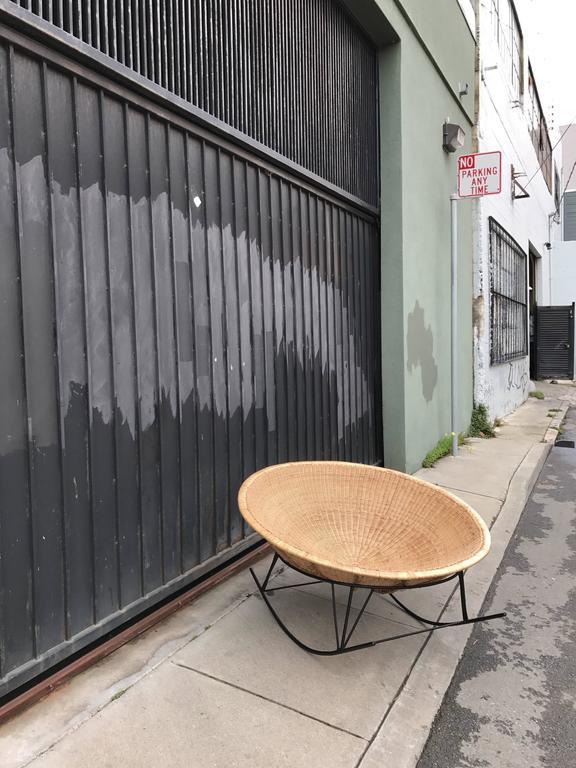 Large Rattan Basket and Iron Modernist Rocking Lounge 10