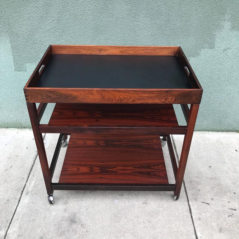 Danish Rosewood Serving or Bar Cart with Removable Tray Top 2