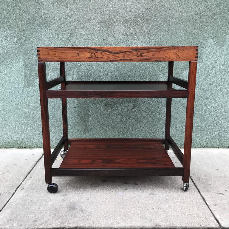 Danish Rosewood Serving or Bar Cart with Removable Tray Top 6