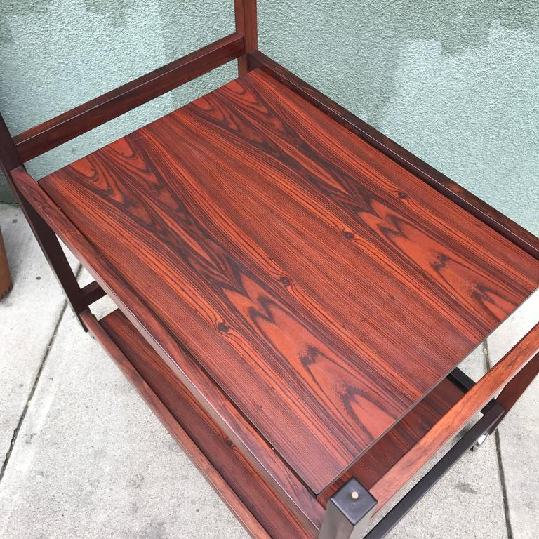 Danish Rosewood Serving or Bar Cart with Removable Tray Top 5