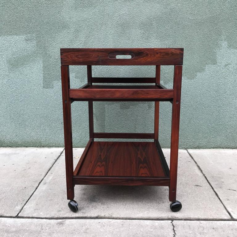 Danish Rosewood Serving or Bar Cart with Removable Tray Top 10