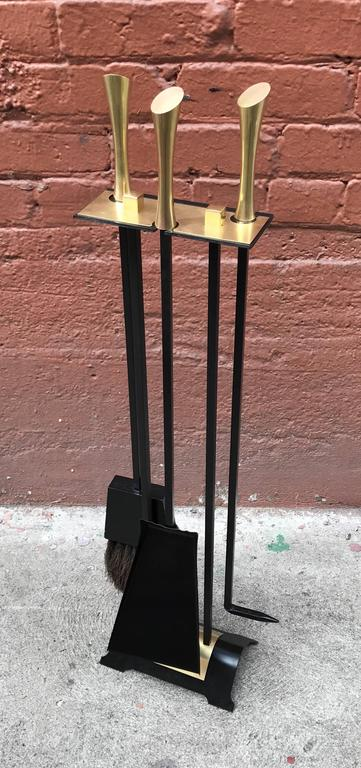 1950s Iron Modernist Fireplace Tools with Brass Accents 2