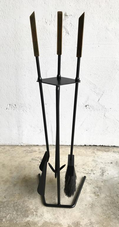 Painted 1950s Modern Brass Handled Fireplace Tools For Sale