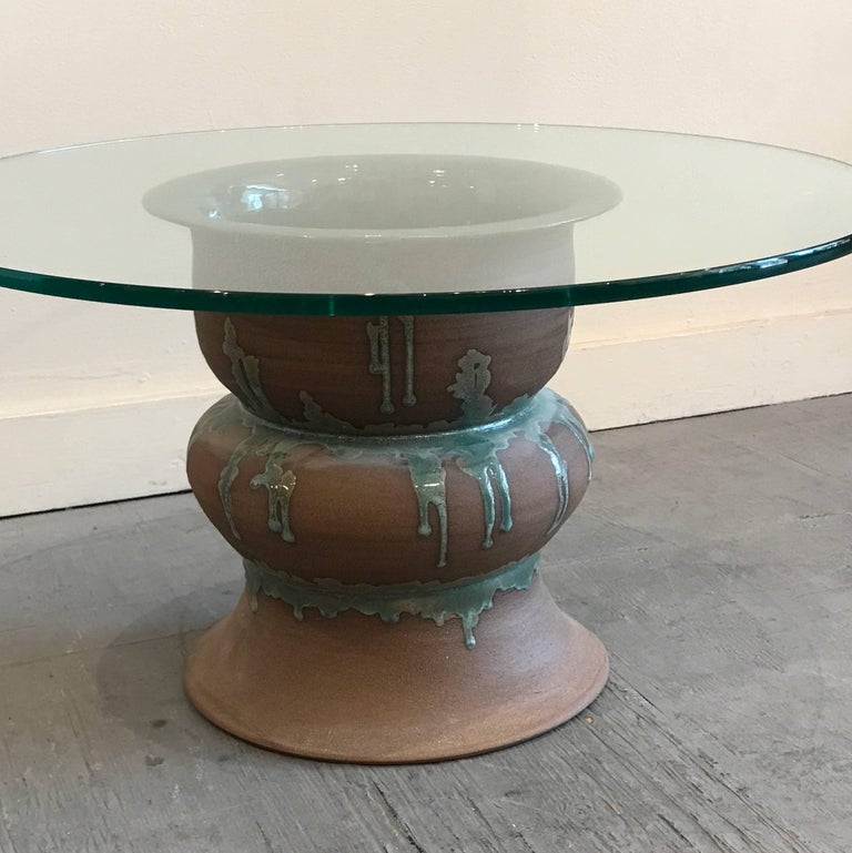 1970s Studio Ceramic and Glass Side Table 2