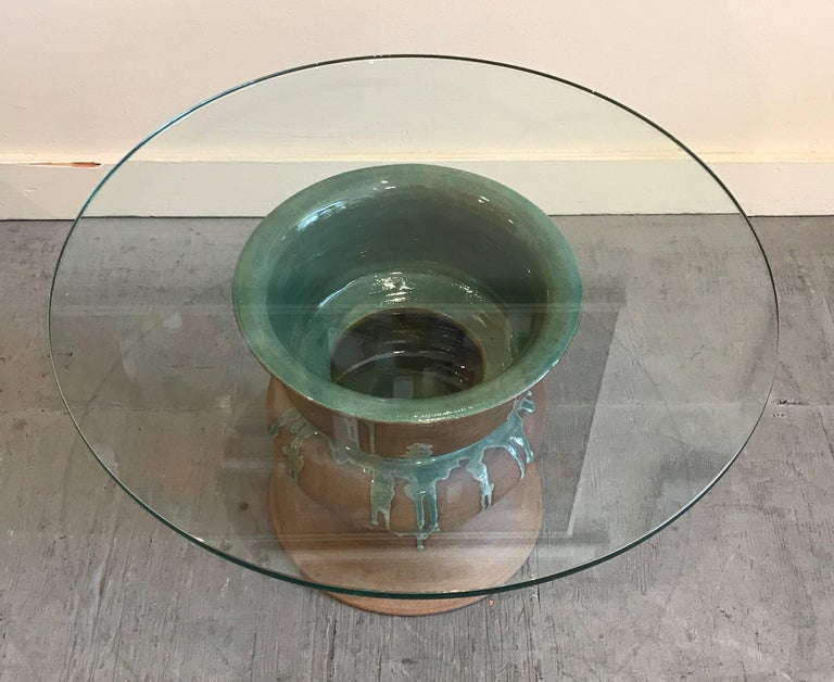 1970s Studio Ceramic and Glass Side Table 5