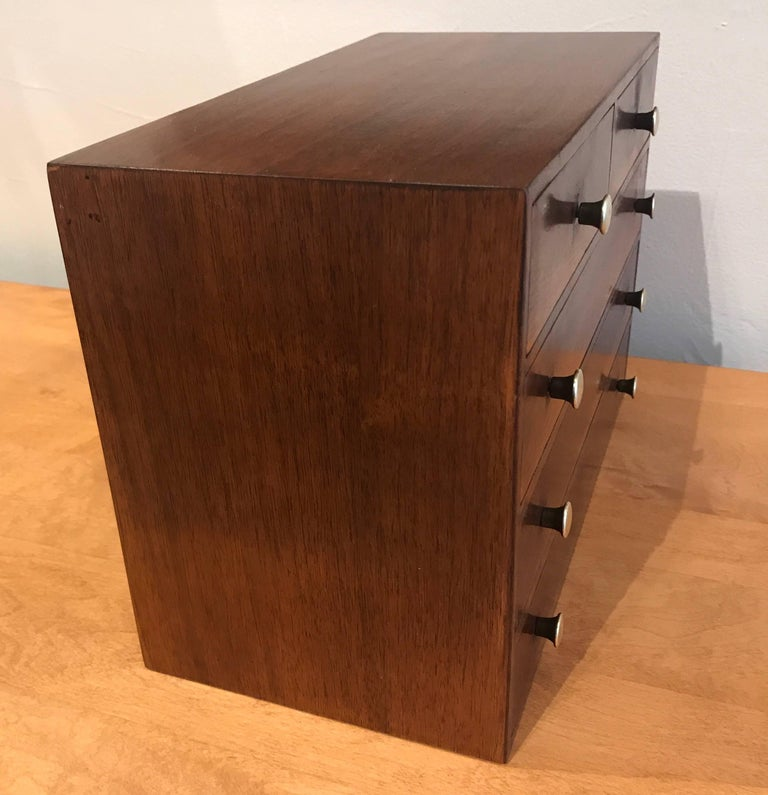 Studio Made Brass and Mahogany Modernist Jewelry Box 10