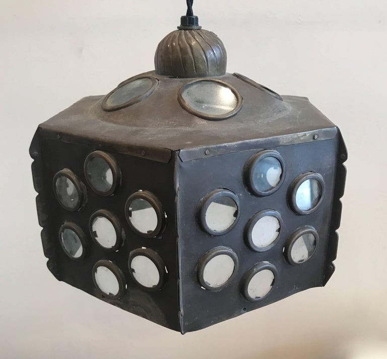 Patinated Brass Hanging Lamp 5