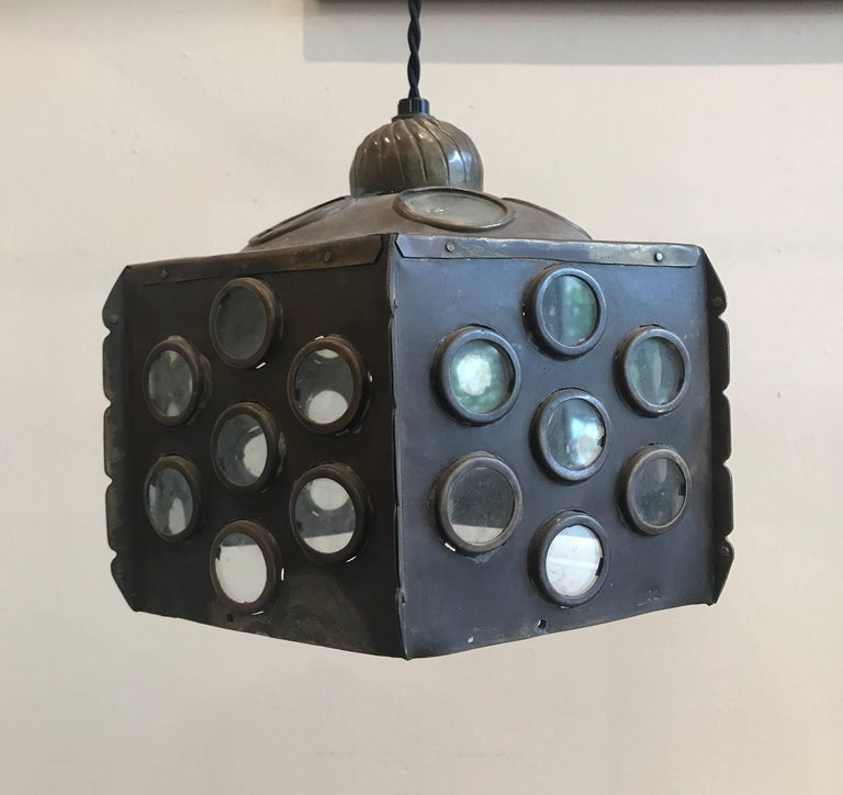 Patinated Brass Hanging Lamp 6