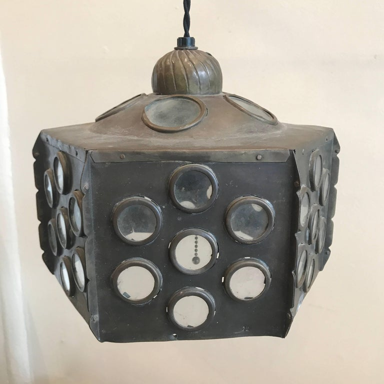 Patinated Brass Hanging Lamp 7
