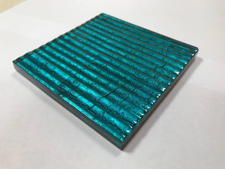 500 Murano Textured Glass Tiles in Blue, Italy, 2017 3