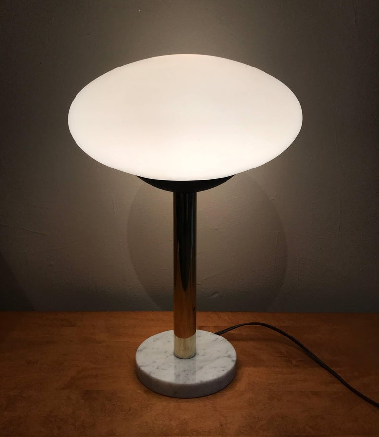 American Modern Saucer Table Lamp with Marble Base, 1960s 7