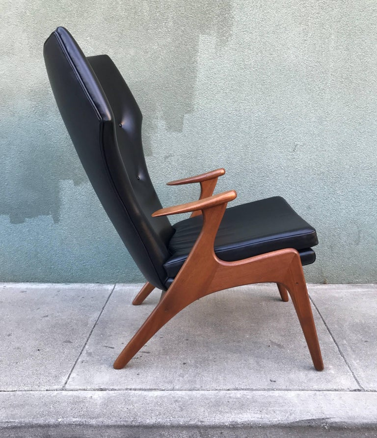 Kurt Ostervig Wingback Leather Lounge Chair 4