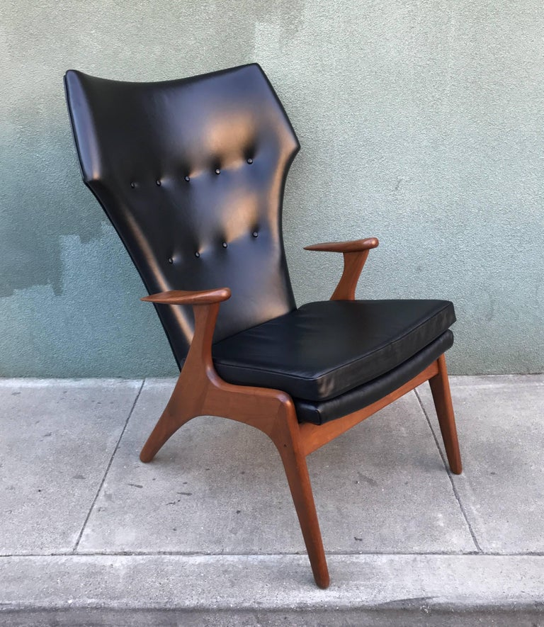 Kurt Ostervig Wingback Leather Lounge Chair 5