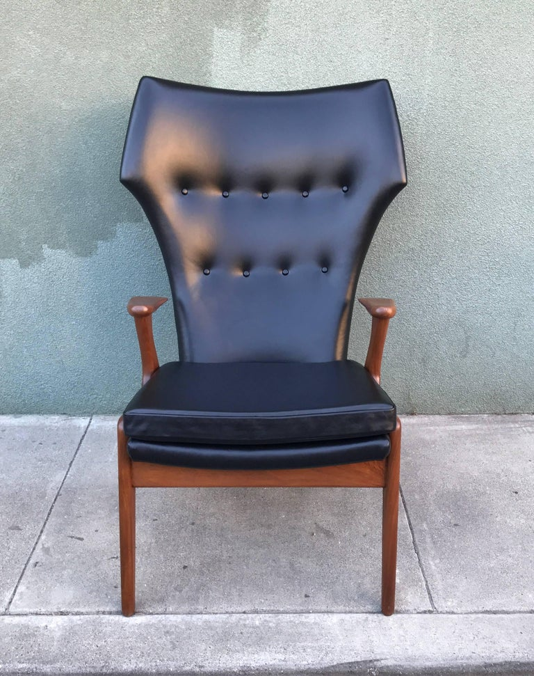 Kurt Ostervig Wingback Leather Lounge Chair 6