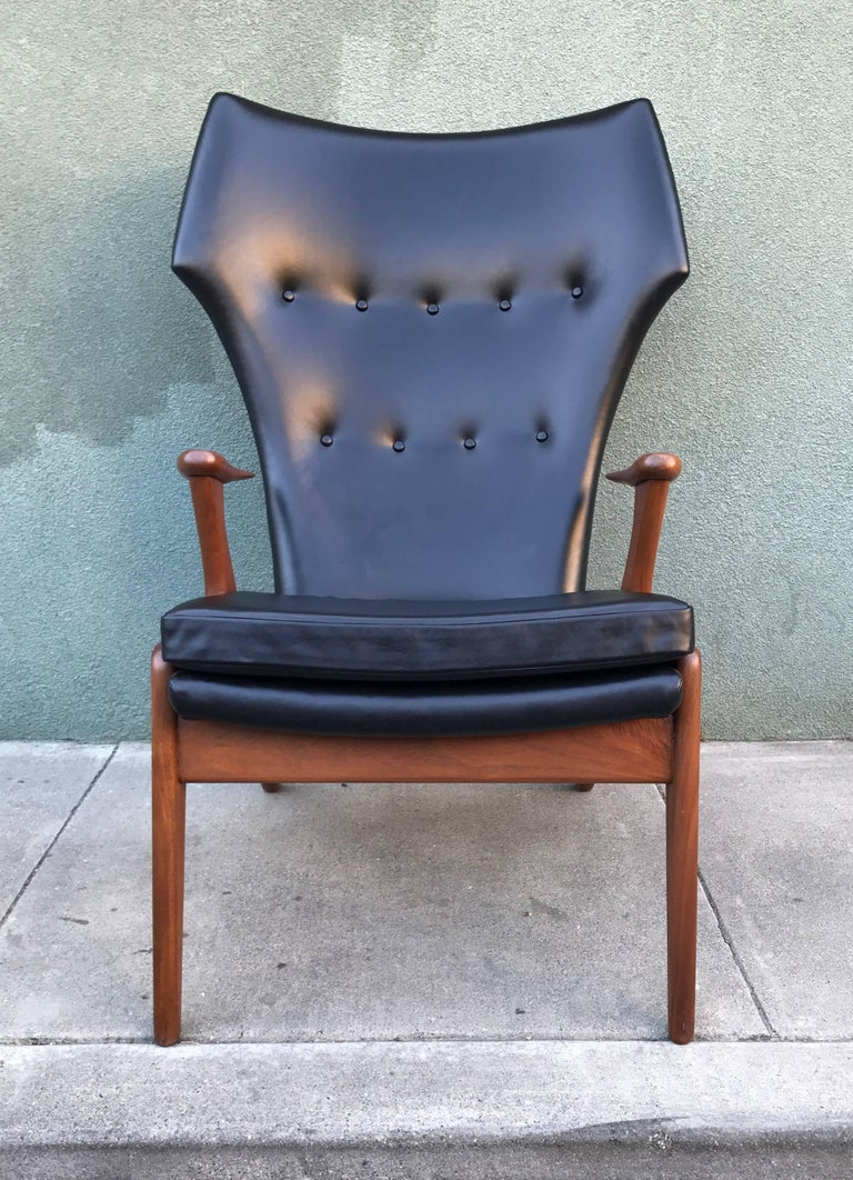 Kurt Ostervig Wingback Leather Lounge Chair 7