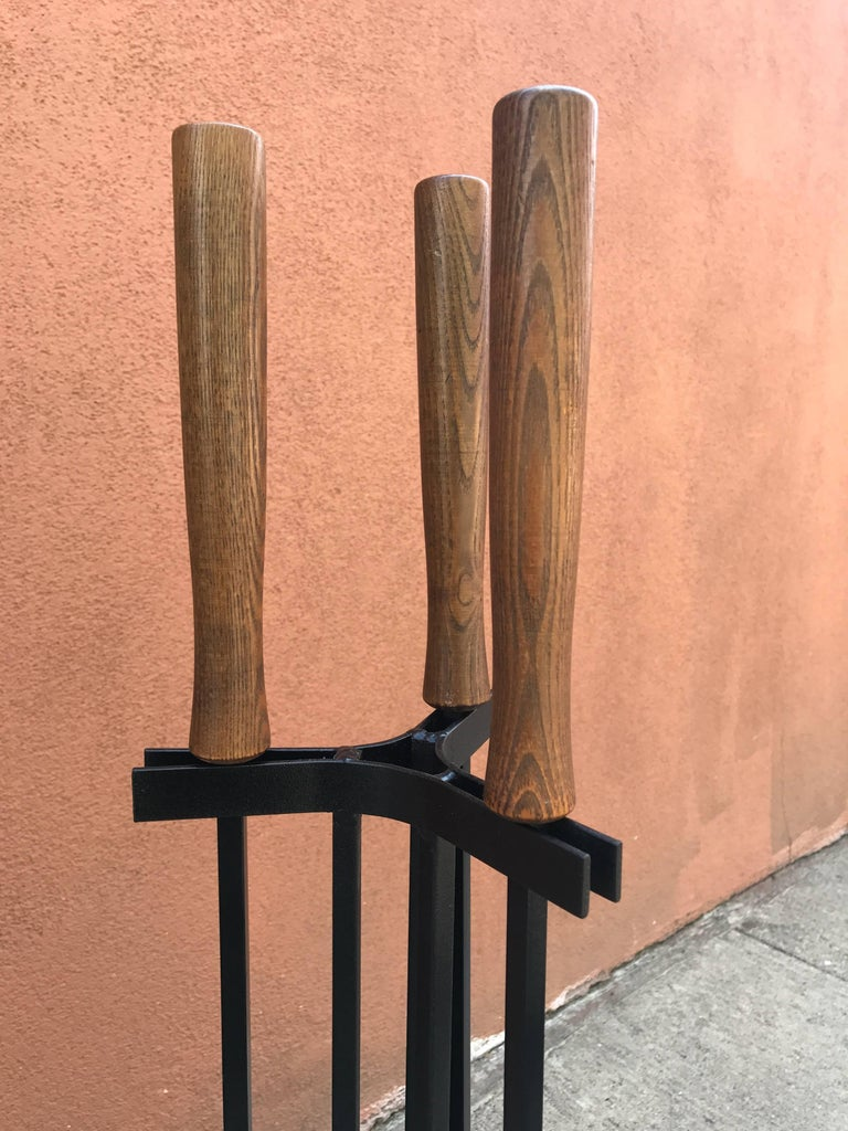 american modern iron and wood fireplace tools for sale at 1stdibs
