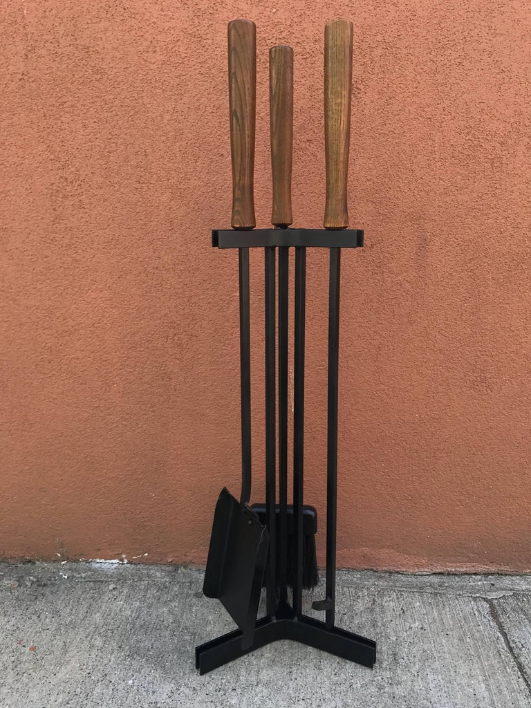 American Modern Iron and Wood Fireplace Tools 10