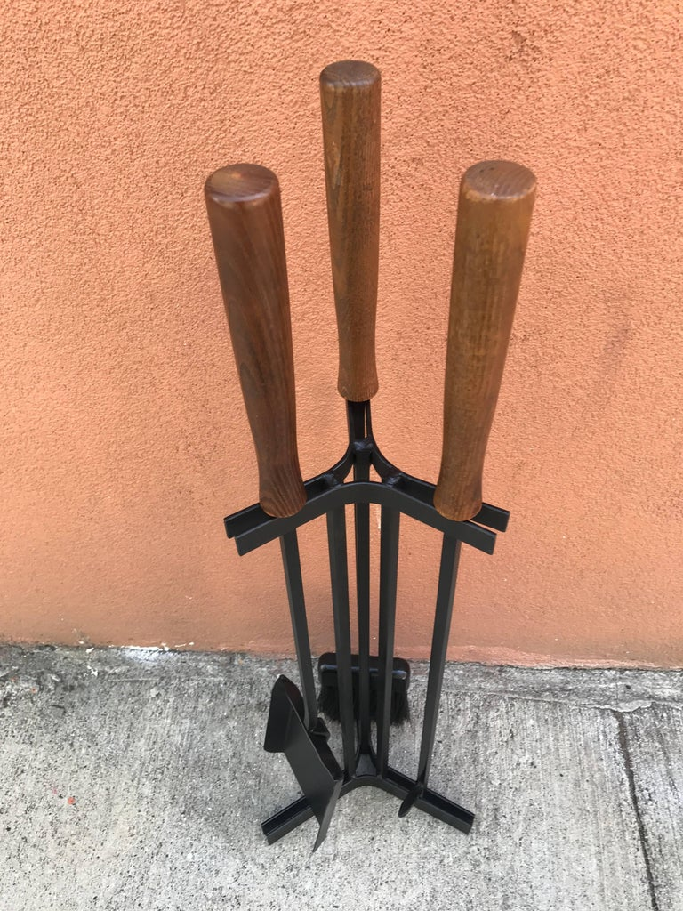 American Modern Iron and Wood Fireplace Tools 6