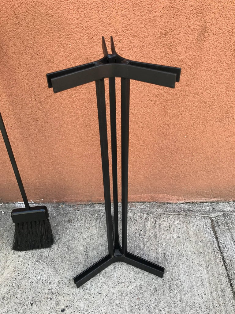 American Modern Iron and Wood Fireplace Tools 9