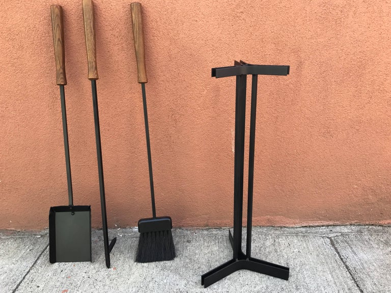 American Modern Iron and Wood Fireplace Tools 8