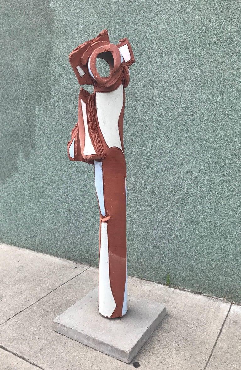 Bay Area Large Glazed Ceramic Abstract or Brutalist TOTEM Sculpture #2 5