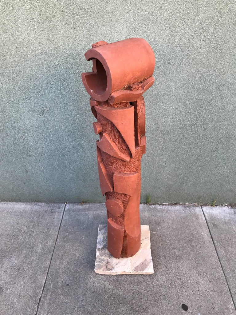 Large 1970s, Bay Area Ceramic Abstract or Bruttalist Sculpture TOTEM #1 2