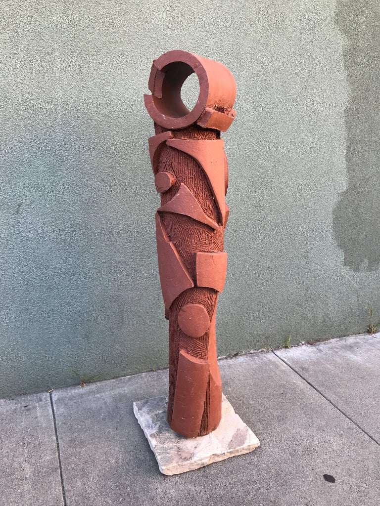 Large 1970s, Bay Area Ceramic Abstract or Bruttalist Sculpture TOTEM #1 3