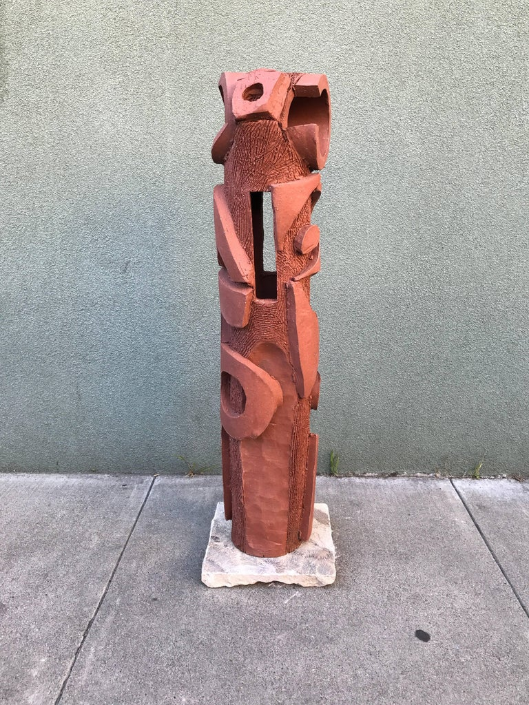 Large 1970s, Bay Area Ceramic Abstract or Bruttalist Sculpture TOTEM #1 5