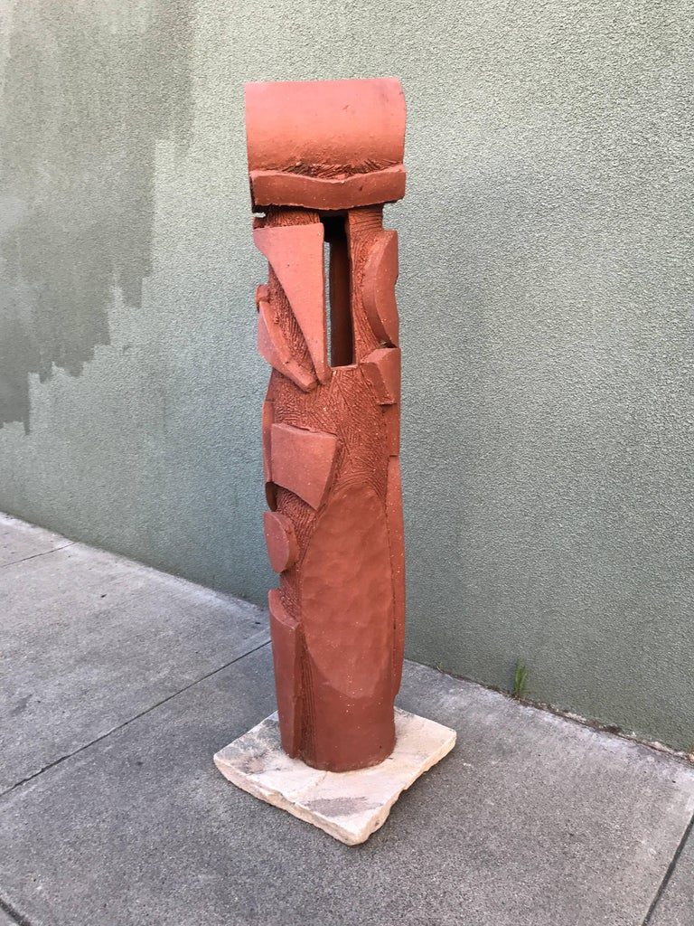 Large 1970s, Bay Area Ceramic Abstract or Bruttalist Sculpture TOTEM #1 4
