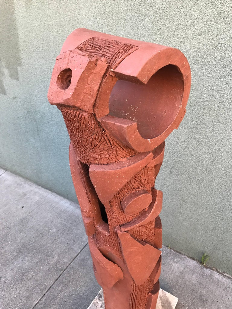 Large 1970s, Bay Area Ceramic Abstract or Bruttalist Sculpture TOTEM #1 7