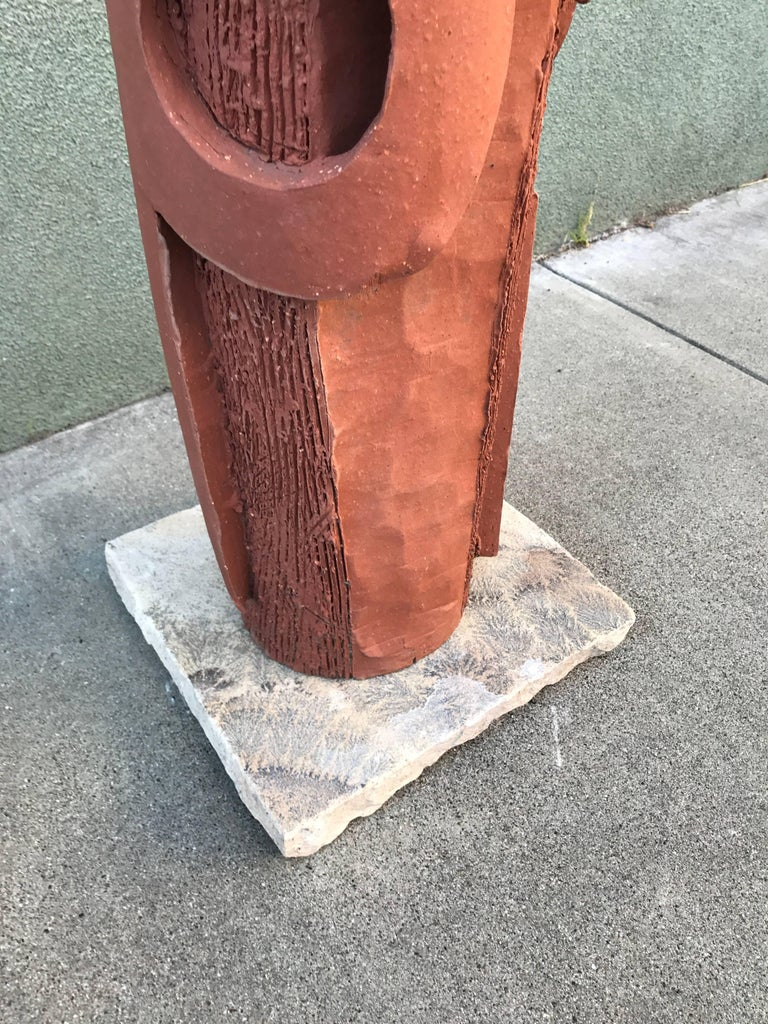 Large 1970s, Bay Area Ceramic Abstract or Bruttalist Sculpture TOTEM #1 8