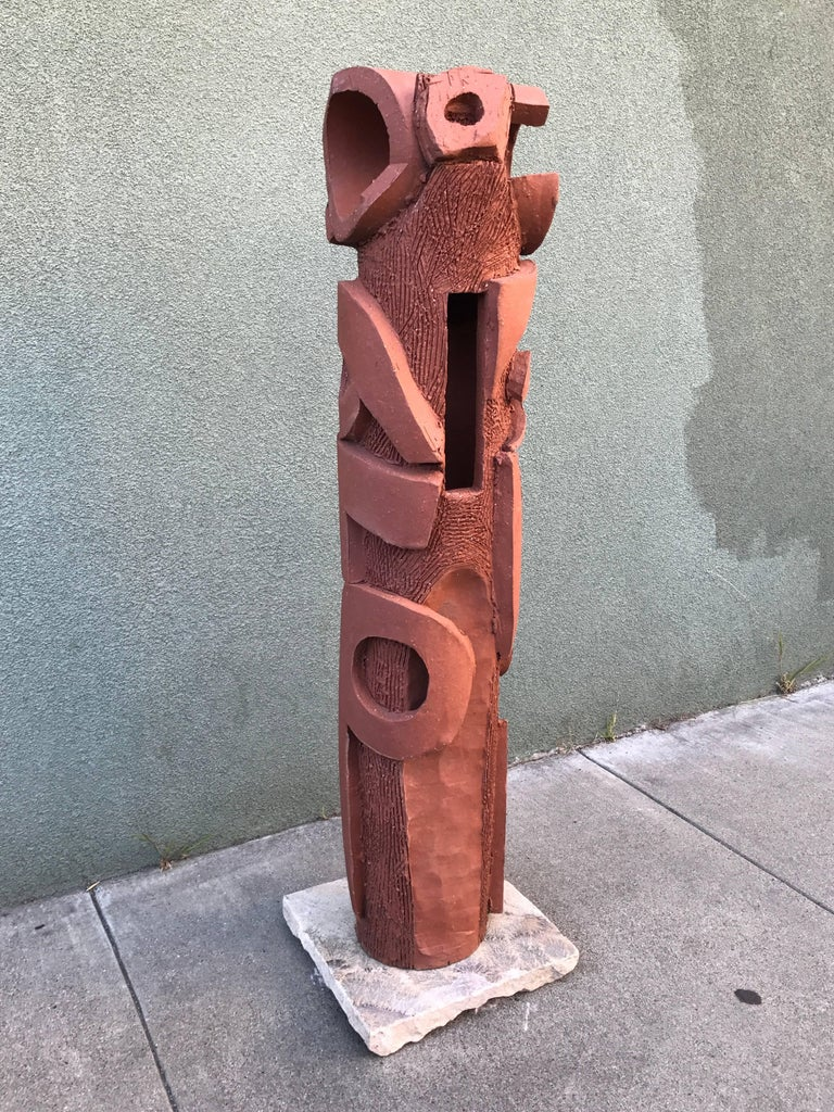 Large 1970s, Bay Area Ceramic Abstract or Bruttalist Sculpture TOTEM #1 6