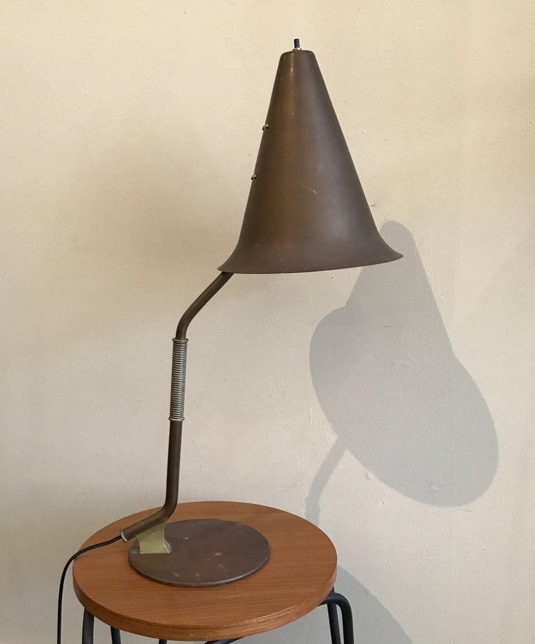 1950s Modernist Swedish Table Lamp in Solid Brass Scandinavian Design 2
