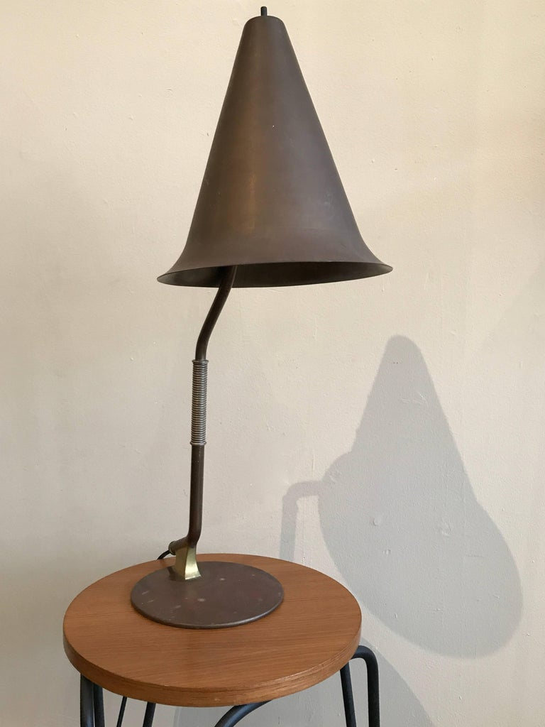 1950s Modernist Swedish Table Lamp in Solid Brass Scandinavian Design 5