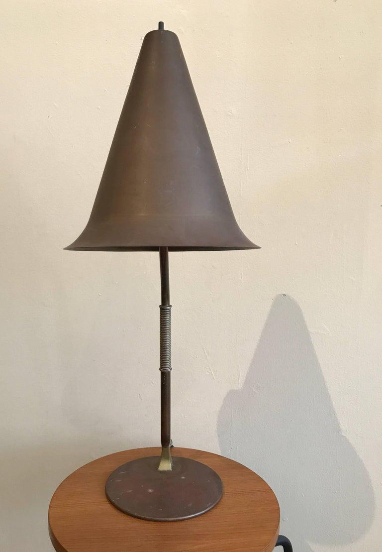 1950s Modernist Swedish Table Lamp in Solid Brass Scandinavian Design 8