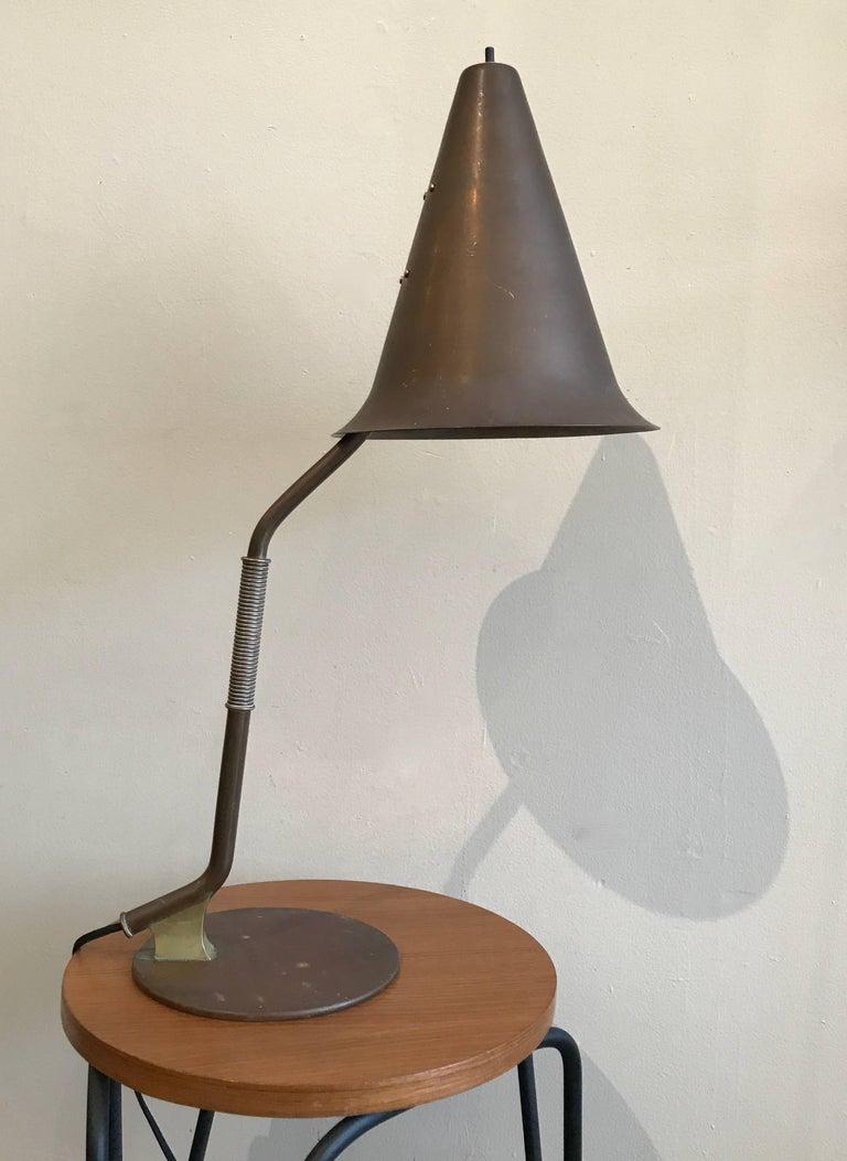 1950s Modernist Swedish Table Lamp in Solid Brass Scandinavian Design 9