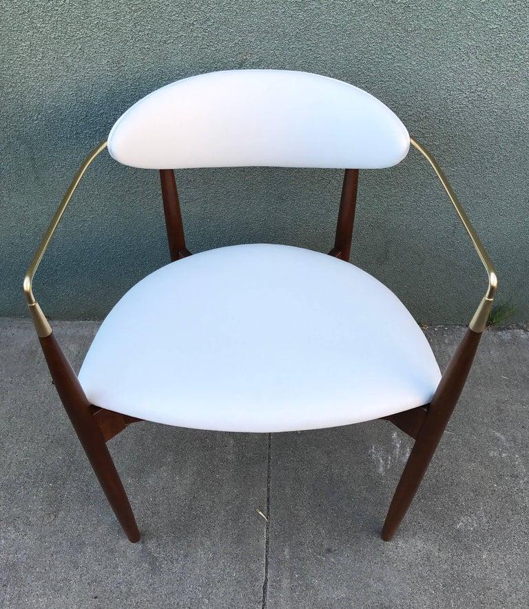 Dan Johnson Armchair in White Leather for Selig 7