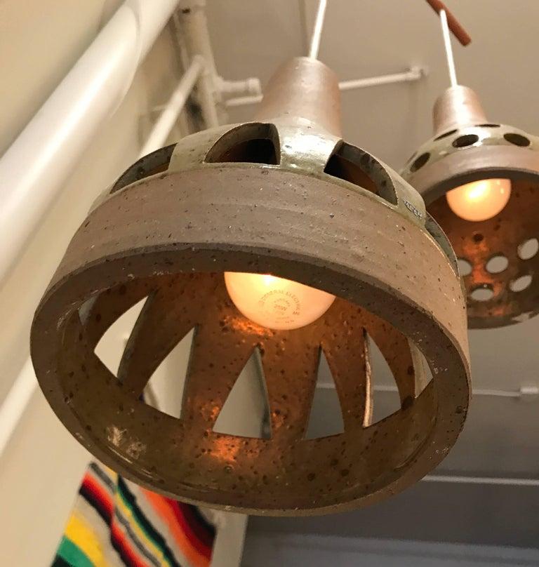 1960s Studio Ceramic Japanese Pendant Lamps 9