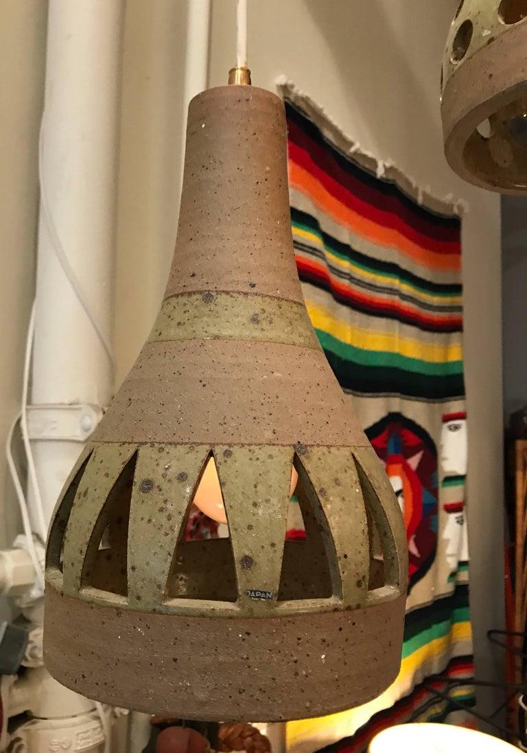1960s Studio Ceramic Japanese Pendant Lamps 7